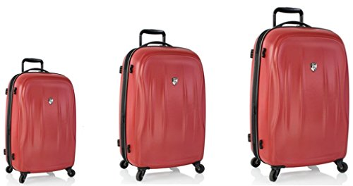 Kofferset, Gepäckset, Reisegepäck by Heys - Premium Designer Hartschalen Kofferset 3 TLG. - Crown Superlite Rot Handgepäck + Koffer mit 4 Rollen Medium +...