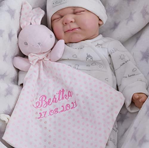 ❤️ Schmusetuch mit Namen und Geburtsdatum Bestickt ❤️ Stoff aus 100% Baumwolle ❤️ Kuscheltuch ❤️ ❤️ (Rosa - Hase)