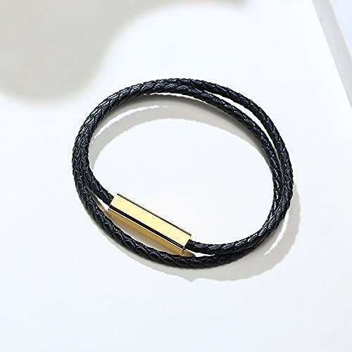 ShSnnwrl Estilo clásico Pulsera Pulseras De Cadena De Cuerda Negra para Hombres, Mujeres, Grabado con Joyería De Cierre De Encant