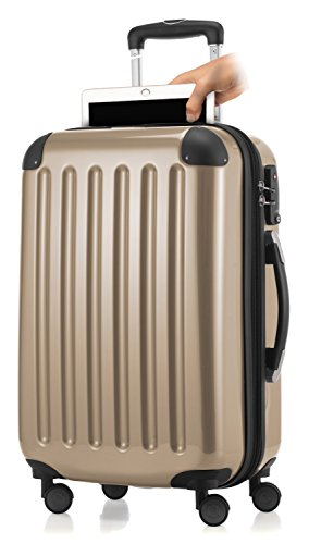 HAUPTSTADTKOFFER Handgepäck mit Laptopfach Hartschalen Trolley Roll-Reisekoffer 4 Doppel-Rollen, 55 cm, 42 L