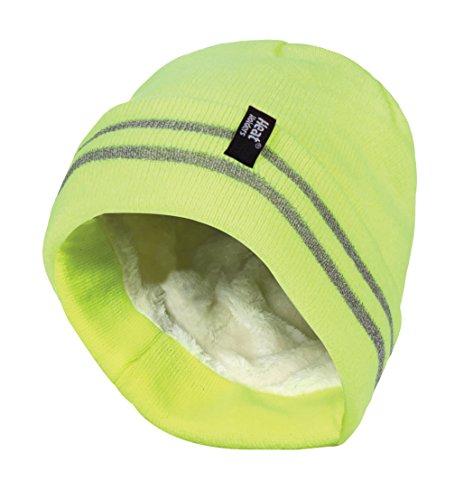 HEAT HOLDERS - Herren neon reflektierend Arbeit Winter Thermo Innenfutter mütze Beanie (One Size, Hi Vis Yellow)