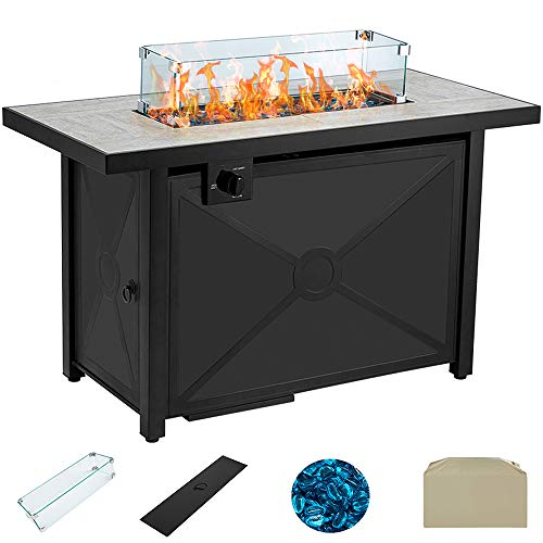 AVAWING Propane Fire Pit Table, 42 inch 60,000 BTU Gas Firepits w/Ceramic Tabletop with Waterproof Cover, Glass Wind Guard, Tempered Glass Beads, Protective Cover