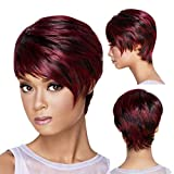 Short Bob Wigs for Women Straight Human Hair Wigs Synthetic Temperament Messy Hair Wig Red Hair Wigs Female Fiber