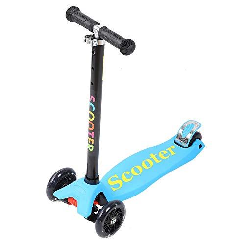 T best Kinder Roller, Allrad Kleinkind Roller Flash Slide Aufsitz Kick Scooter Spielzeug mit empfindlicher Bremse Silikon Inlay für 3-8 Jahre alte Kinder Kinder(Blau)