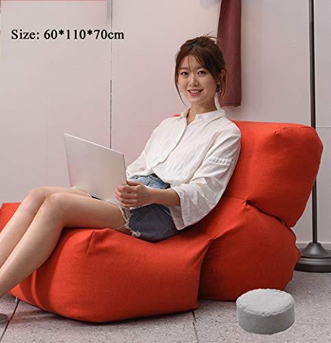 Gycdwjh Sitzsack, Lounge Sessel Komfortabel Atmungsaktiv Bean Bag Bazaar Außensitzsack Hohem Rückenteil mit Fußstütze Waschbar für Balkon Schlafzimmer Wohnzimmer,Rot,EPP+ Pedal