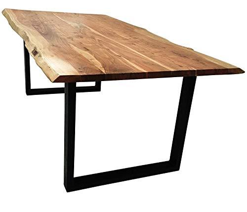 SAM Esszimmertisch Imker, Massivholz Akazie, Baumkantentisch, schwarze Metallbeine, 180 x 90 cm