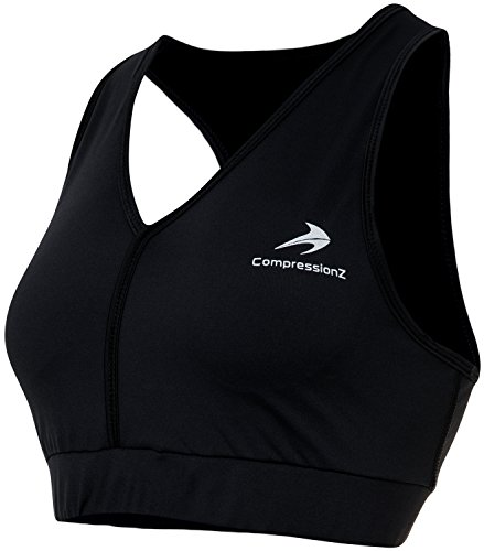 CompressionZ Padded Racerback Sports Bra (Black - M)- No-Bounce Support for High Impact Fitness & Yoga