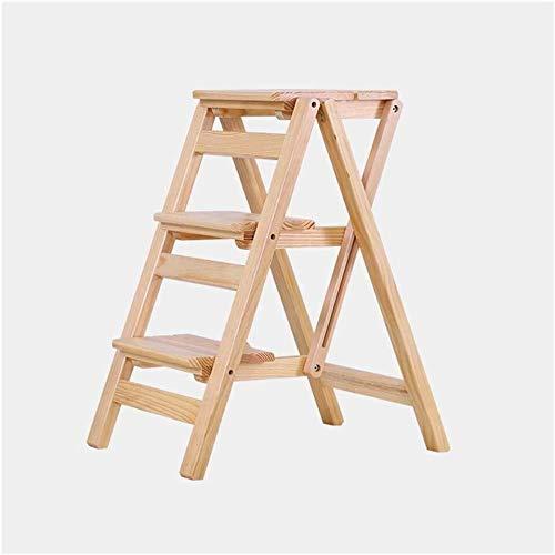 CHGDFQ Escalera plegable multifuncional de madera maciza para el hogar con tres escalones, taburete de escalera de madera para interiores (color: D)