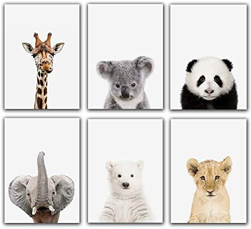 Baby Safari Animals Poster Prints Nursery Decor Pictures 8x10 Set of 6 Unframed Cute Animal product image
