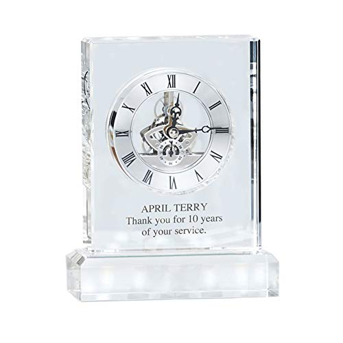 Engraved Clock Trophy - Executive Crystal - Rectangular Shaped on a Rectangular Base - Silver Inset Time Piece - Personalized Engraving Up to Three Lines