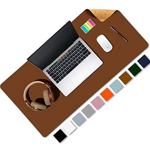"""Aothia Office Desk Pad, Natural Cork & PU Leather Dual Side Large Mouse Pad, Laptop Desk Table Protector Writing Mat Easy Clean Waterproof for Office Work/Home/Decor (Brown,31.5"""" x 15.7"""")"""