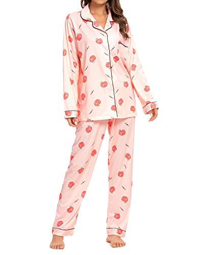 GOSO Women's Flannel Pajamas - Cotton Flannel Pajamas Women Warm PJs Set, Pink, M, 8-10