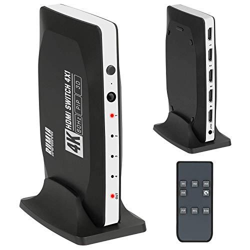 HDMI Switch 4K Anschlüsse RUMIA HDMI Switch Box mit Pip (Bild in Bild) und IR-Fernbedienung, 4 in 1 Out HDMI Switcher Selector mit Basishalterung für Laptop/PC, Xbox, PS3 / 4, DVD-Player
