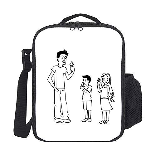Bolsas de almuerzo aisladas para niños, con portabotelas, padre y niños, para comer hielo, color negro, para hombres, adultos, reutilizable, bolsa de comida para el trabajo, escuela, picnic