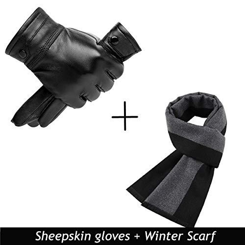 Herren Lederhandschuhe Herbst Winter Warmer Touchscreen Vollfinger Schwarze Handschuhe Hohe Qualität-a5