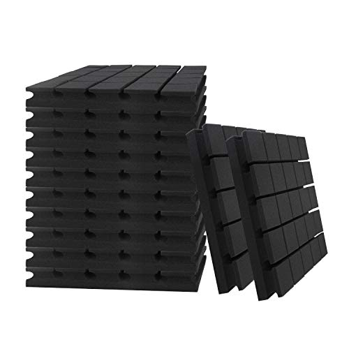 "24 Pack Set 2"" X 12"" X 12"" Acoustic Foam Panels, Studio Wedge Tiles, Sound Panels wedges Soundproof Sound Insulation Absorbing, 25 Blocks Mushroom Design"