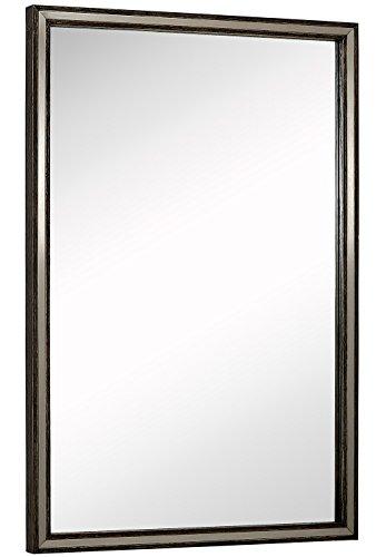 Hamilton Hills Large Metal Inlaid Wood Frame Wall Mirror | Glass Panel -