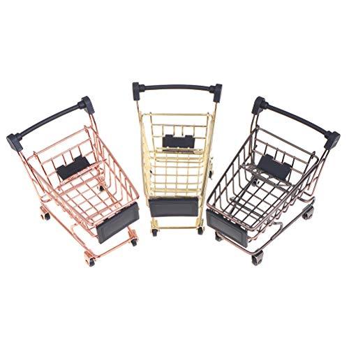 JIAOAO 2 piezas (oro+oro rosa) Mini carrito de la compra carro de la compra hogar oficina artículos de almacenamiento adornos de juguete para niños