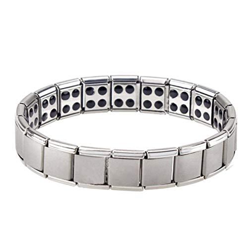 SeniorMar-UK Magnetfeldtherapie-ArmbandEdelstahl-Armband Energie-Magnet-Armband Fashion Wide Armreif für Mann Frau Silber Doppelschicht