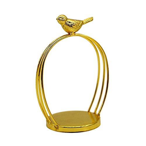 Monbedos Creative Kunstst van ijzer vogelhuis kandelaar decoratie desktopdecoratie (koperkleurig) 9.2 * 6.5 * 14cm goud.