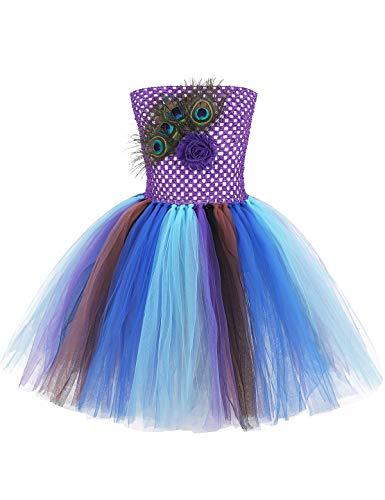 YiZYiF Vestido Tutú Princesa Disfraz Pavo Real Niñas Disfraz Carnaval Niña Vestido Tutú Fiesta Colorido Danza Baile Traje Actuación Boda Regalo Cumpleaños 1-12 Años