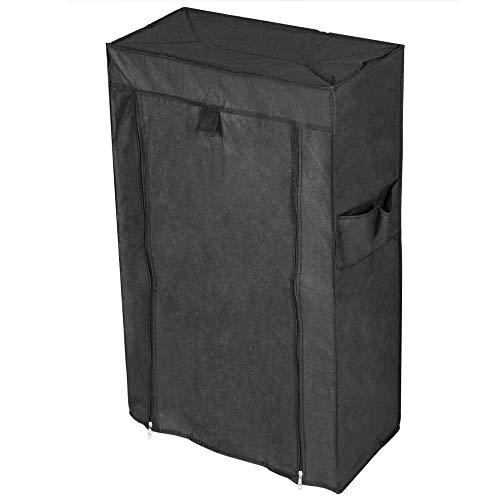 PrimeMatik - Armario ropero y Zapatero de Tela Desmontable 60 x 30 x 108 cm Negro con Puerta Enrollable