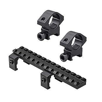 M1SURPLUS Optics Mounting Kit with Aluminum Scope Rings + Low Profile Rail Picatinny Compatible Rail Mount for HK H&k MP5 SP5 SP89 PTR91 Rifles for H&k 1st Generation GSG5 GSG-5