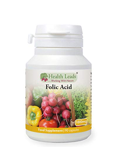 Folic Acid 1000mcg x 90 Capsules, Supports Normal Maternal Tissue Growth During Pregnancy, Prenatal, Magnesium Stearate Free, Formulated and Made in Wales