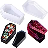 Vampire Coffin Resin Mould Storage Box with Cover Silicone Moulds Casting Epoxy Clay Craft Molds Crystal Jewelry Making Mold for DIY Craft Halloween Party Decoration