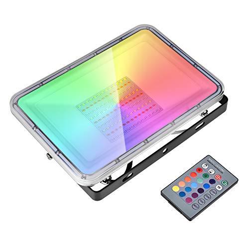 100W Foco LED RGB 8000lm 16 Colores Cambiable y 4 Modos Foco Exterior con Control Remoto, Impermeable IP67 Foco Proyector Exteriores Iluminación Decorativa Multicolor para Jardín bodas Fiestas