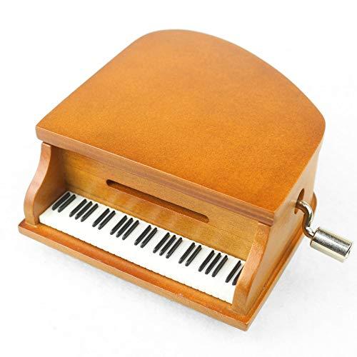 Paper Tape Spieluhr, Holz Handkurbel Piano Music Box Holz Handwerk Retro Geburtstagsgeschenk Vintage Home Decoration