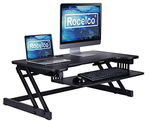 """Rocelco 37.5"""" Deluxe Height Adjustable Standing Desk Converter"""