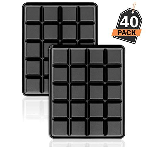 Kompanion 40er Pack Eiswürfelformen 2,5 cm Eiswürfel Silikonformen, Whiskyquadrate, Eiswürfelbereiter, 20 pro Schale, 2er Set.