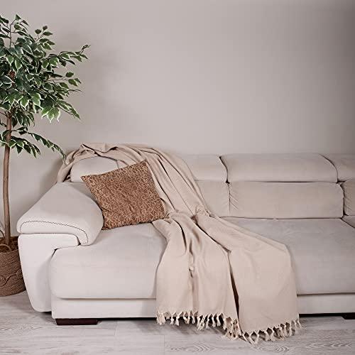 Milam London Premium 100% Baumwolle großer Überwurf für Sofa Doppelbett Sessel Sofa I Tagesdecke Decke 170 x 230 cm beige