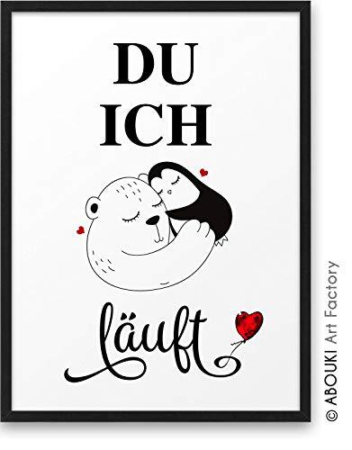 BÄR PINGUIN Paar DU ICH läuft ABOUKI Kunstdruck - ungerahmt - Geschenk-Idee Hochzeit Verlobung Jahrestag Weihnachten für Sie Ihn Frauen Männer DIN A4