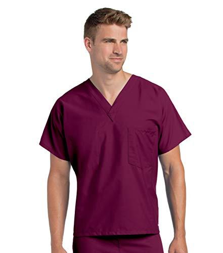 Landau Unisex-Adult V-Neck with Chest Pocket Scrub Top Krankenhauskleidung, Oberteil, Wein, Small Tall