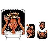 Viccc 4 Teile/Satz Prinzessin Gedruckt Muster Duschvorhang Sockel Teppich Deckel Toilettendeckel Matte Badematte Set Bad Vorhänge Mit 12 Haken