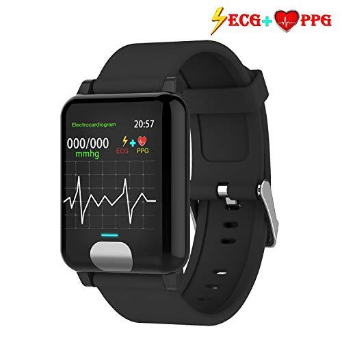 armo Pulsera de Actividad,ECG PPG Pulsera Inteligente con Pulsómetro Pulsera Deportiva y Monitor de Ritmo Cardíaco Monitor de Actividad Impermeable IP67 Reloj Fitness Podómetro (Negro)