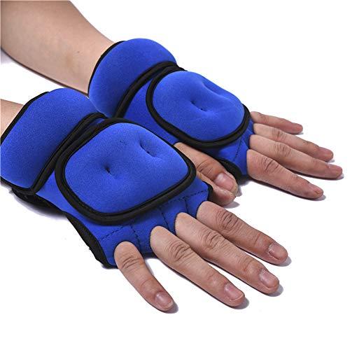 LYXMY add 1 kg guantes de entrenamiento con pesas con bolsa de arena con soporte para las muñecas gimnasio, boxeo, pull-ups, entrenamiento cruzado, transpirable, azul, talla libre