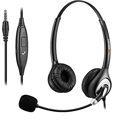 Mobile Phone Headset Headsetwith Microphone Noise Cancelling & Call Controls, 3.5mm Phone Headset for iPhone Samsung Huawei Galaxy HTC LG ZTE BlackBerry Mobile Phone iPad Tablet Laptop from Arama