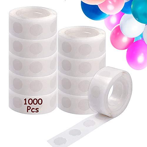 ZAWTR 1000 Piezas Puntos de Pegamento de Globos, Puntos de Pegamento Puntos Adhesivos de Doble Cara Cinta de Pegatinas para Bodas Cumpleaños Decoraciones de Globos de Fiesta (10 Rollos)