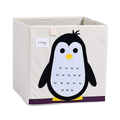 VMOTOR Foldable Animal Canvas Storage Toy Box/Bin/Cube/Chest/Basket/Organizer for Kids, 13 inch(Penguin)