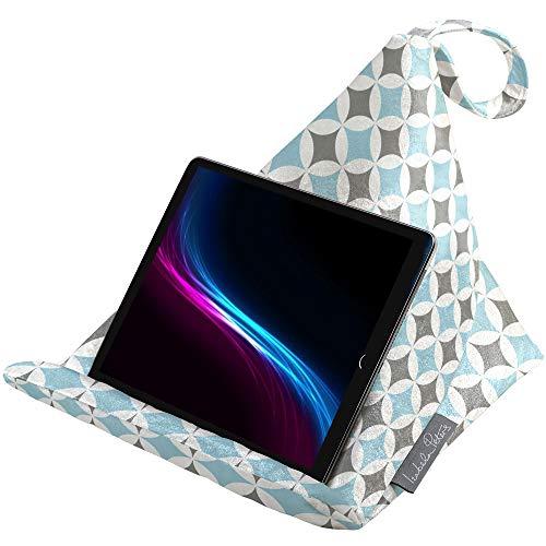 Izabela Peters Designer Bean Bag Cushion Pillow Holder Stand for iPad, Tablet, Kindle, Phone - Works Every Angle - Luxurious Shimmer Velvet - Celeste Blue & Grey Bahia | Marrakech Collection