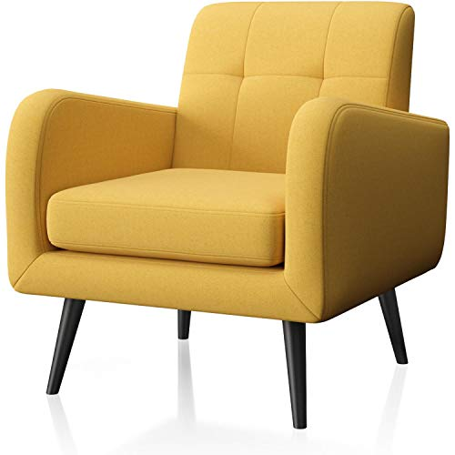 JustRoomy Upholstered Mid-Century Modern Accent Chair Comfortable Fabric Armchair Bedroom Chair Living Room Chair with Arms & Black Wooden Tapered Leg Removable Seat Cushion, Yellow