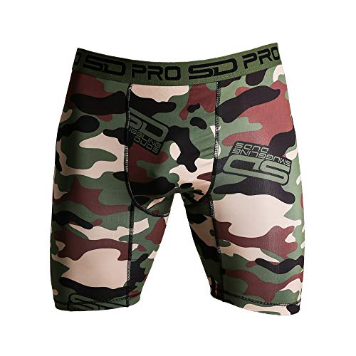 Smuggling Duds SD Pro Range Compression Shorts by Fitted Soft Cool Quick Dry Sports Training Shorts for Men - Groin Protector Guard Pocket Pouch - Jungle Camo - Medium