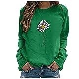 Julhold Sweatershirt para mujer estampado floral color contraste manga larga sólido casual blusa jersey top, Green-p1, S