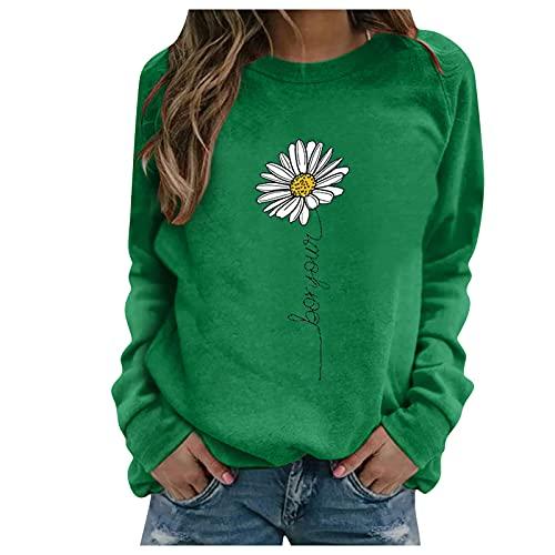 Julhold Sweatershirt para mujer estampado floral color contraste manga larga sólido blusa casual jersey top (verde, L)