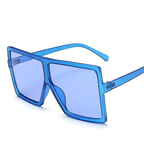 Powzz ornament Gafas de sol cuadradas de gran tamaño para mujer Gafas de sol retro de lujo paramujer Gafas de sol vintage con espejo degradado-Azul
