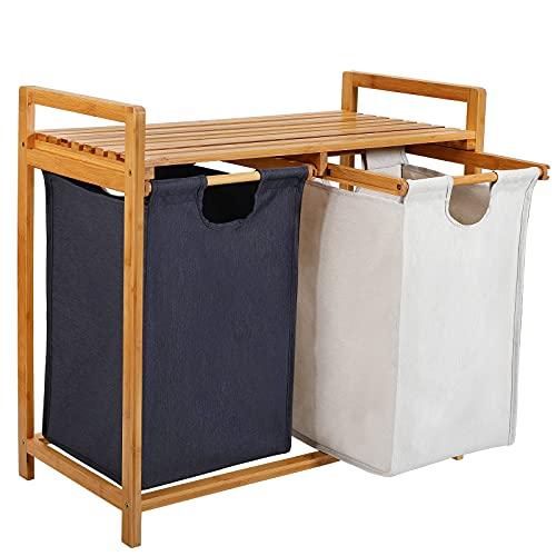 kksmile Cesto portabiancheria in bambù, 3 scomparti, facile da usare, con 2 sacchi estraibili, ca....