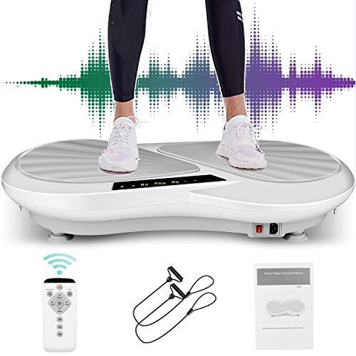 Caroma 3D Vibrationsplatte Ganzkörper Trainingsgerät große Fläche | 99 Level & 3 + 1 Trainingsprogramme | Erweiterte Fernbedienung für Körperformung und Gewichtsverlust zu Hause (Grau)
